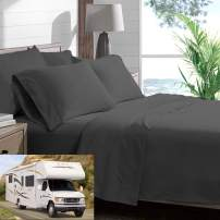RV/Short Queen 4 Piece Bed Sheet Set Bedding Sheets Set For Campers 500 Thread Count 100 % Cotton Made Specifically For RV,Camper & Moterhomes (60 X 75) 15 Inch dee pocket Charcoal Grey Solid