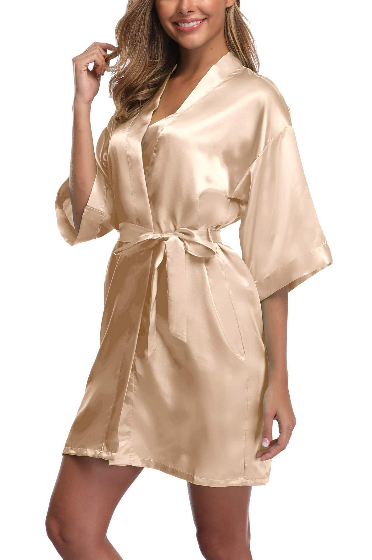 UrHot Women's Short Kimono Robe Bridal Party Robe for Bridesmaid Satin Sleepwear