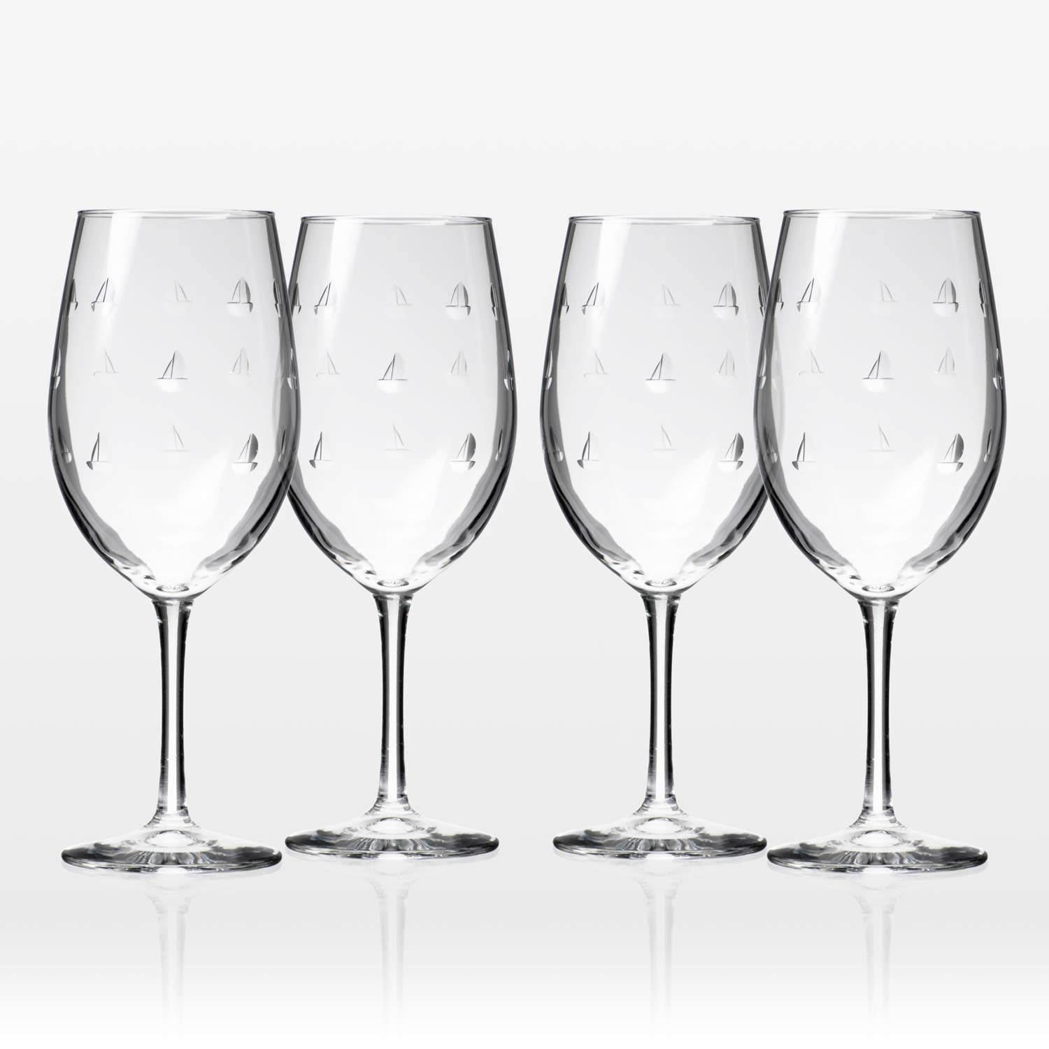 Rolf Glass Sailing All Purpose Wine Glass 18 Ounce - Set of 4 Large Wine Glasses - Lead Free Crystal Glass - Engraved Large Wine Glasses - Made in the USA