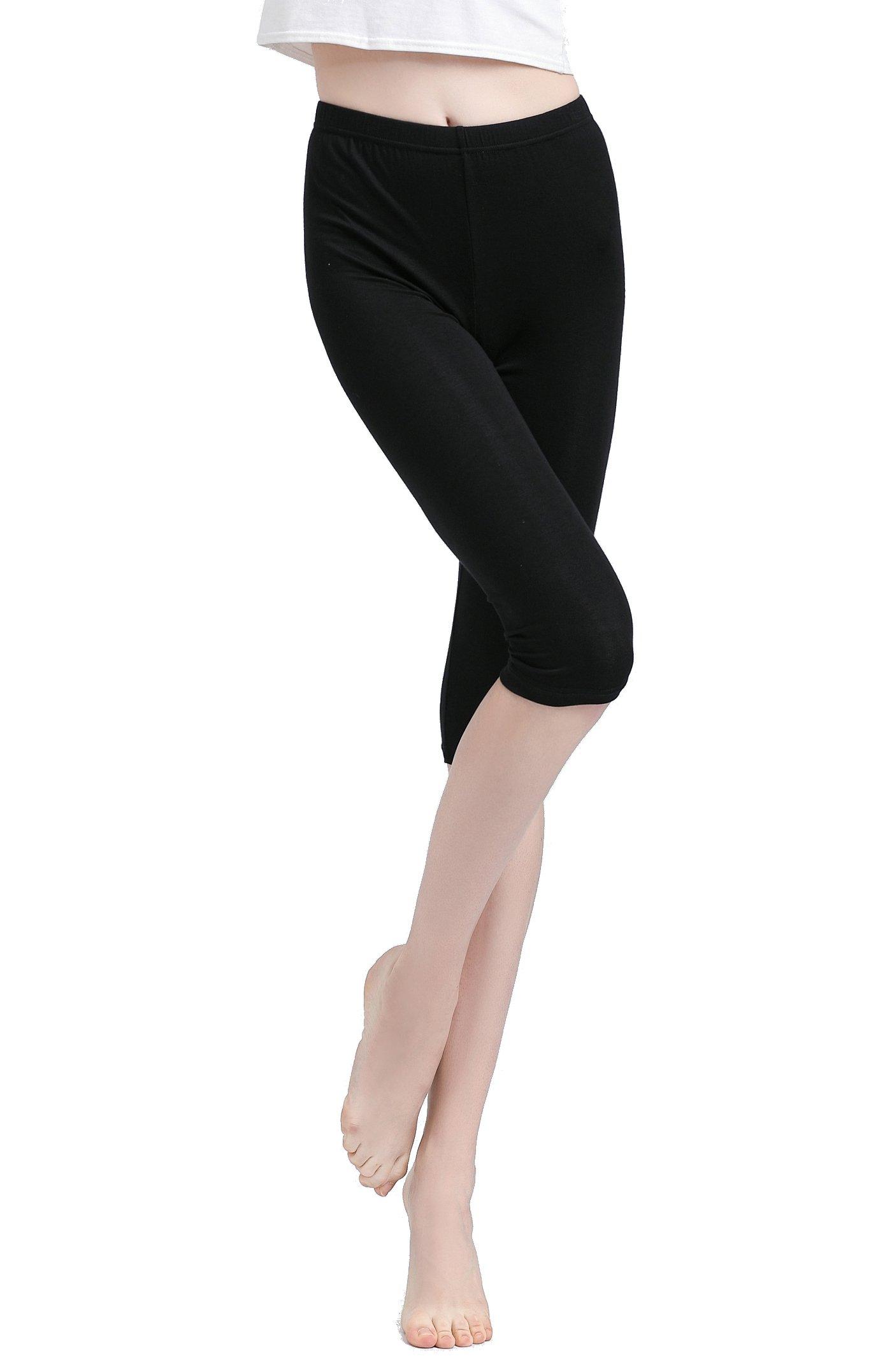 Vinconie Women Knee Leggings 3/4 Capri Cropped Leggings Under Skirt Shorts