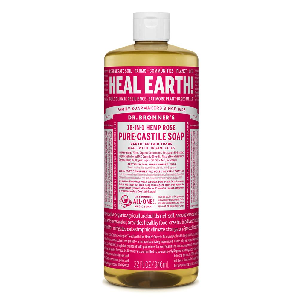 Dr. Bronner's - Pure-Castile Liquid Soap (Rose, 32 ounce) - Made with Organic Oils, 18-in-1 Uses: Face, Body, Hair, Laundry, Pets and Dishes, Concentrated, Vegan, Non-GMO