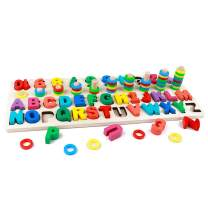GETIANLAI 4-in-1 Wooden Blocks Puzzle Board Set Alphabet ABC, Numbers andLetters for Toddlers Preschool Teaching Early Education Toy