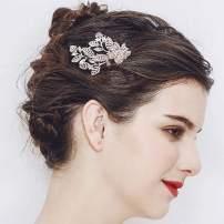 Yean Bride Flower Bridal Hair Comb Wedding Hair Piece Leaf Hair Accessories for Women and Girls (Rose Gold)