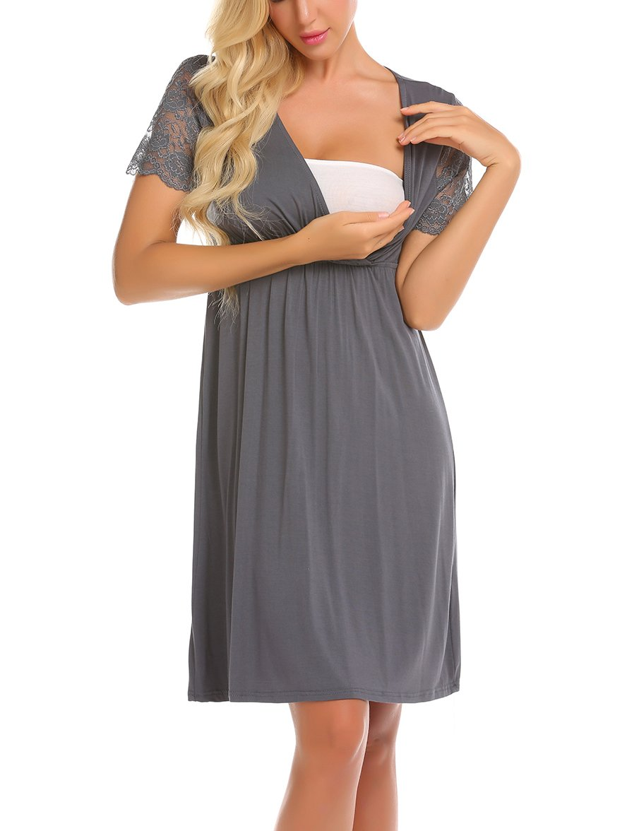 MAXMODA Womens Delivery/Labor/Maternity/Nursing Nightgown Pregnancy Gown for Hospital Breastfeeding Dress