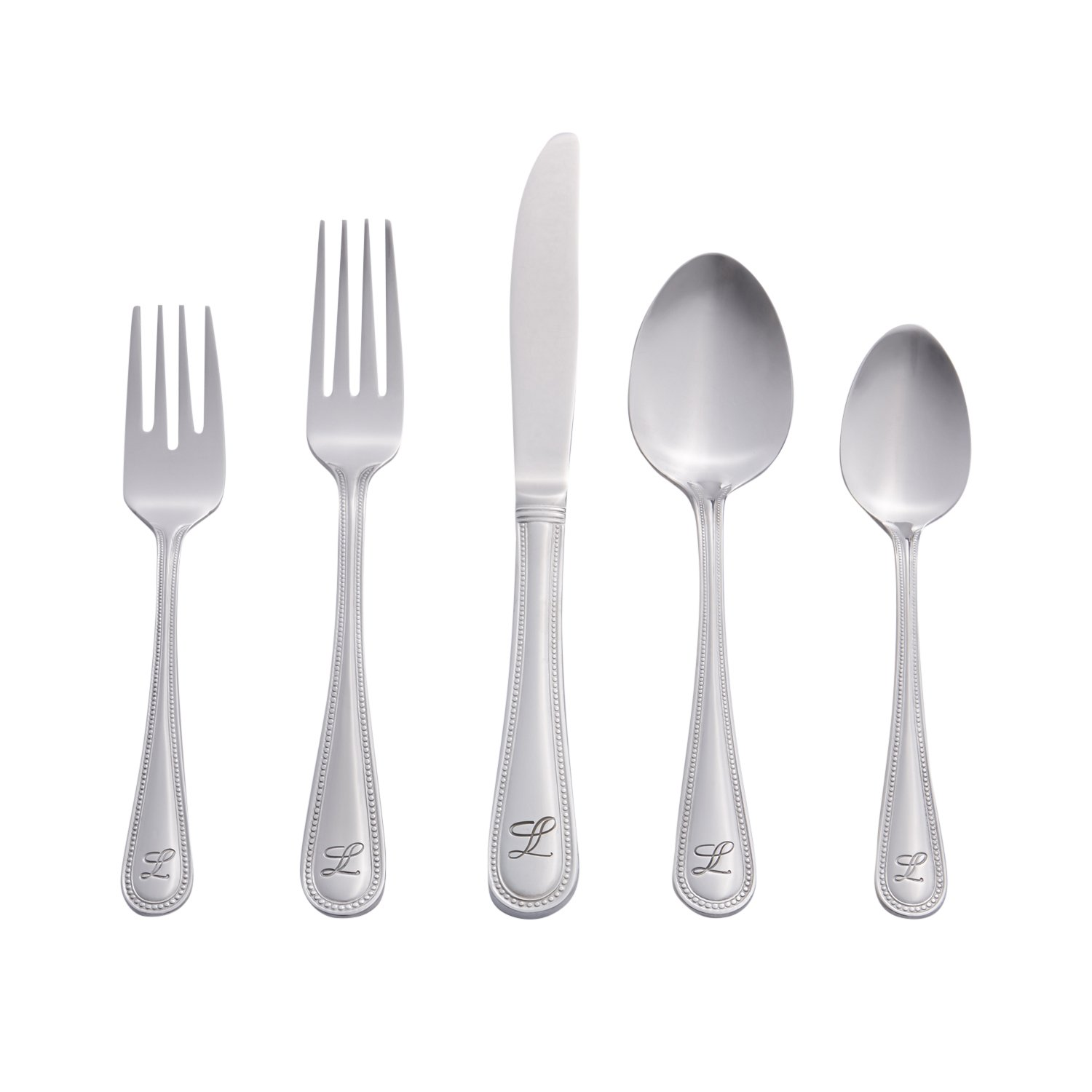 RiverRidge Beaded Monogrammed Flatware Set, 46, Silver