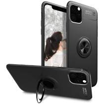 iPhone 11 Pro Max Case 6.5 inch 2019, Scratch Resistant & Anti Slip Grippy Soft TPU Case with 360 Degree Rotation Ring Kickstand [Work with Magnetic Car Mount] for iPhone 11 Pro Max,Black