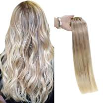 Full Shine 22 Inch Remy Straight Clip In Hair Extensions 7 Pcs 100 Gram Real Hair Nordic Balayage Hair Extensions Clip Ins Pastel Clip in Hair Extensions Color 18 Fading to 22 and 60 Blonde Clip Hair