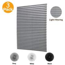 "LUCKUP 3 Pack Cordless Light Filtering Pleated Fabric Shade,Easy to Cut and Install, with 6 Clips (36""x72"" - 3 Pack, Grey)"