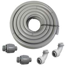 """(1 1/4"""" Dia x 25 ft) HydroMaxx Flexible PVC Non Metallic UL Liquid Tight Electrical Conduit Kit with 2 Straight and 2 Angle Fittings Included"""