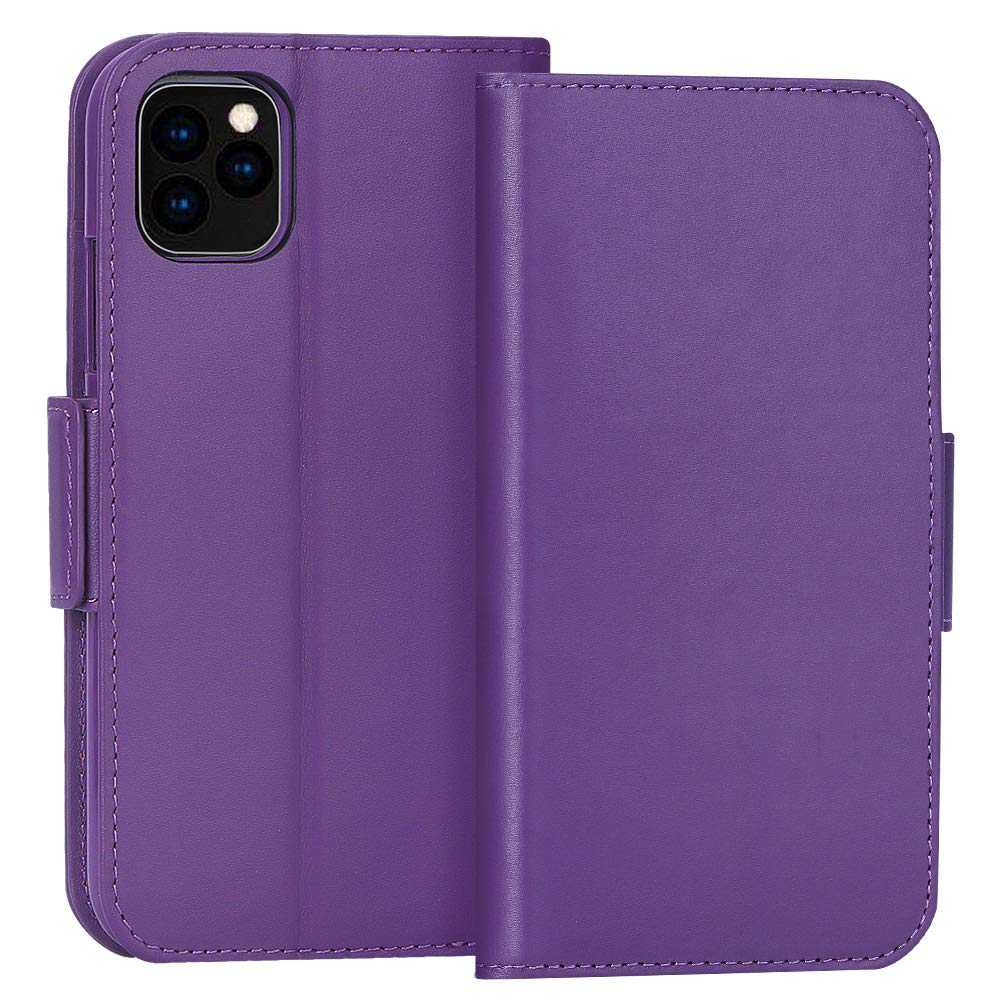 """FYY Case for iPhone 11 Pro Max 6.5"""", Luxury [Cowhide Genuine Leather][RFID Blocking] Wallet Case, Handmade Flip Folio Case with [Kickstand Function] and[Card Slots] for iPhone 11 Pro Max 6.5"""" Purple"""