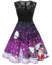 Nicetage Women's Vintage Christmas Santa Print Short Sleeve Lace Retro A-Line Party Swing Dress