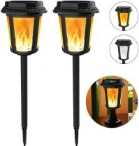 Solar Flame Lights, Keenstone Solar Torch Lights Outdoor/Waterproof Flickering Flame Lights, 2 Modes White Light & Flame Light, 4 Lighting Effects/Built-in Light Sensor/Battery Life Up to 5 Years,2PCS