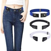 GUCHOL No Buckle Stretch Belts for Womens - Adjustable Length Stretchy Elastic Waist Jeans Belt for Jeans Pants