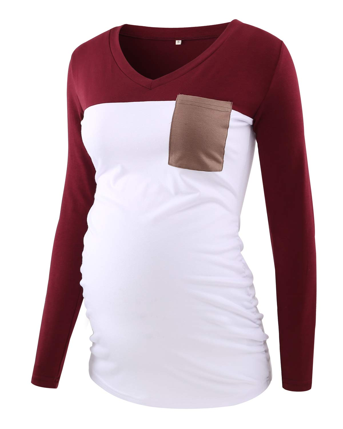 Ecavus Women's Casual Maternity Tops Short & Long Sleeve V Neck Colorblock Pregnancy T-Shirt with Pocket