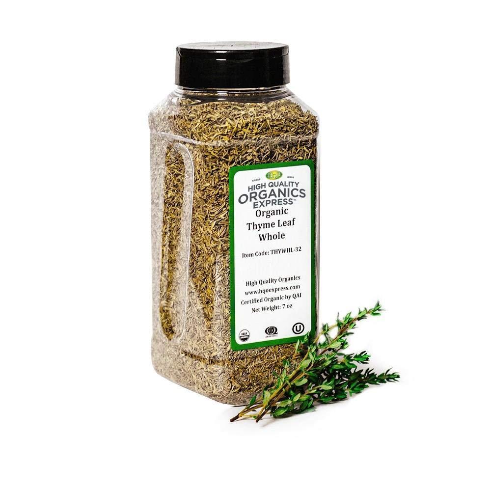 HQOExpress   Organic Thyme Leaf   7 oz. Chef Jar