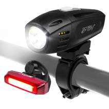 BV Super Bright (300 Lumens) USB Rechargeable Bike Headlight with Free Taillight| 1300mAh Lithium Battery | Water Resistant IP44 - Fits All Bicycles, Easy Install & Quick Release- 1 Year Warranty