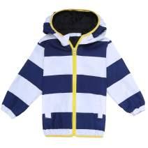 Arshiner Girls Kids Waterproof Rain Coat Jacket Hoodie Outwear, Blue and White 120