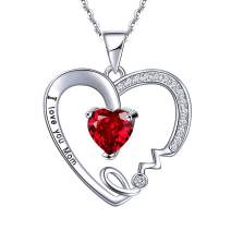 UEUC I Love You Mom Love Heart Necklace,925 Sterling Silver Rhinestone Necklace for Mom,Best Mom Necklace Gift for Mother
