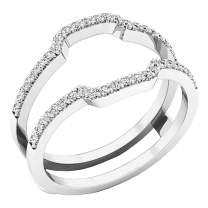 Dazzlingrock Collection Diamond Wedding Band Enhancer Guard Ring from 1/4 Carat to 1 Carat White Diamond Ring in 10K White Gold