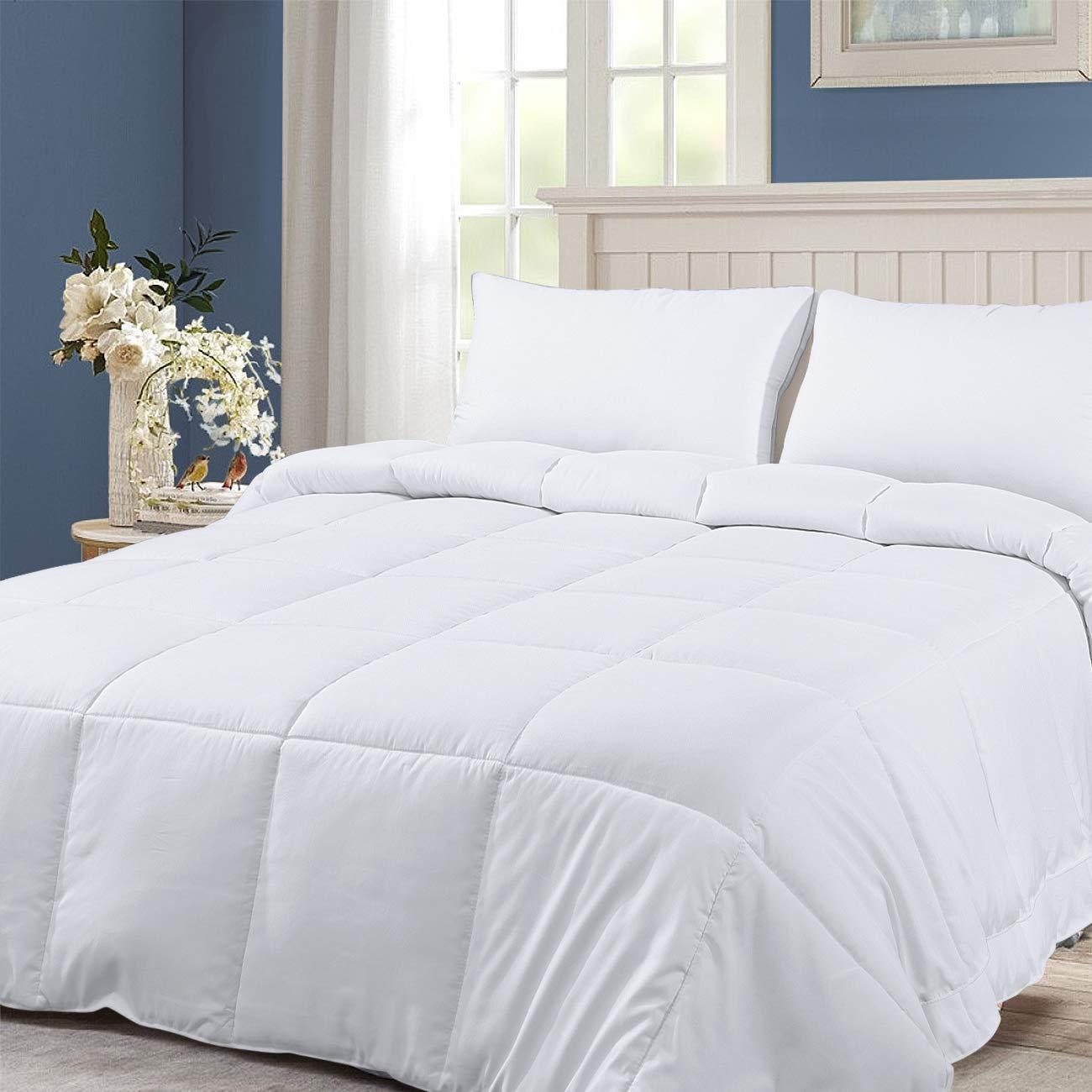 viewstar Summer Duvet Insert, Lightweight Bed Comforter, All-Season White Breathable Duvet Insert or Stand-Alone Comforter with Corner Duvet Tabs - Hypoallergenic - Machine Washable(Queen 88x88)
