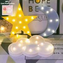 Decorative LED Crescent Moon Cloud Star Night Lights for Kids Girls and Adults, Nursery Night Lamp Gift for Children Baby Room Party Holiday Decorations (Blue Moon-Yellow Star-White Cloud)