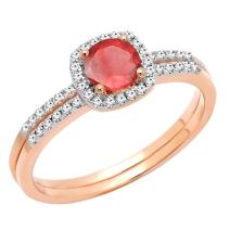 Dazzlingrock Collection 10K 5 MM Round Gemstone & Diamond Bridal Halo Engagement Ring With Matching Band Set, Rose Gold