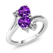 Gem Stone King 1.33 Ct Heart Shape Purple Amethyst 10K White Gold Diamond Ring (Available 5,6,7,8,9)