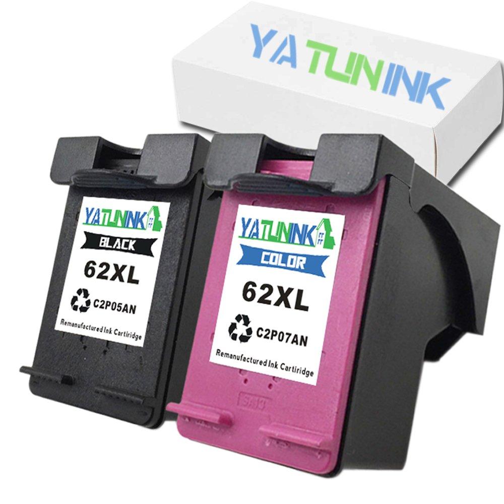 YATUNINK Compatible for HP 62XL Black & 62XL Color Ink Cartridges Envy 5640 5642 5643 5646 5660 7640 7645 (2 Pack)