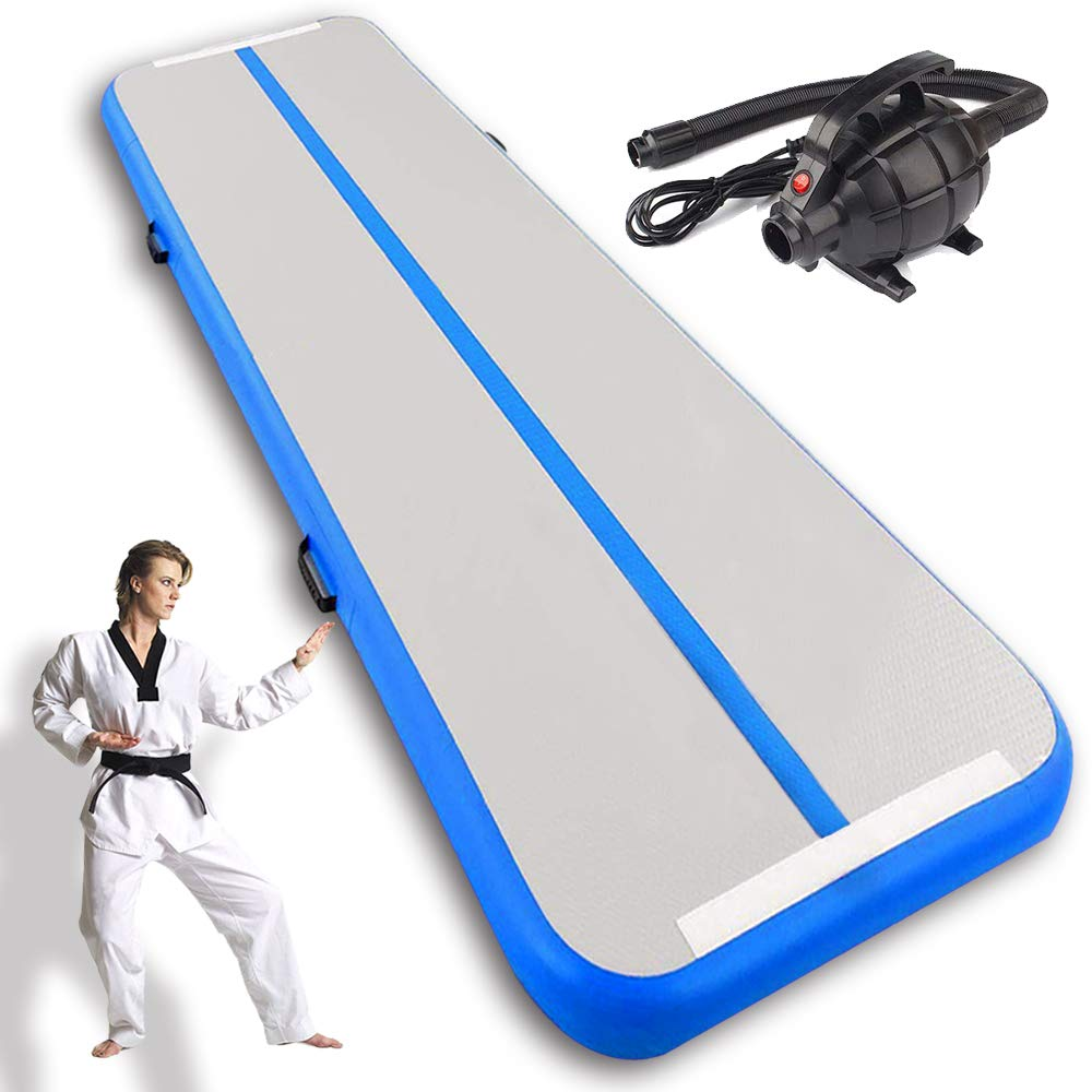 Inflatable Gymnastic Mat Air Track Tumbling Mat with Pump Air Floor Practice Gymnastics Cheerleading Tumbling Martial Arts for Home Use, Beach, Park and Water