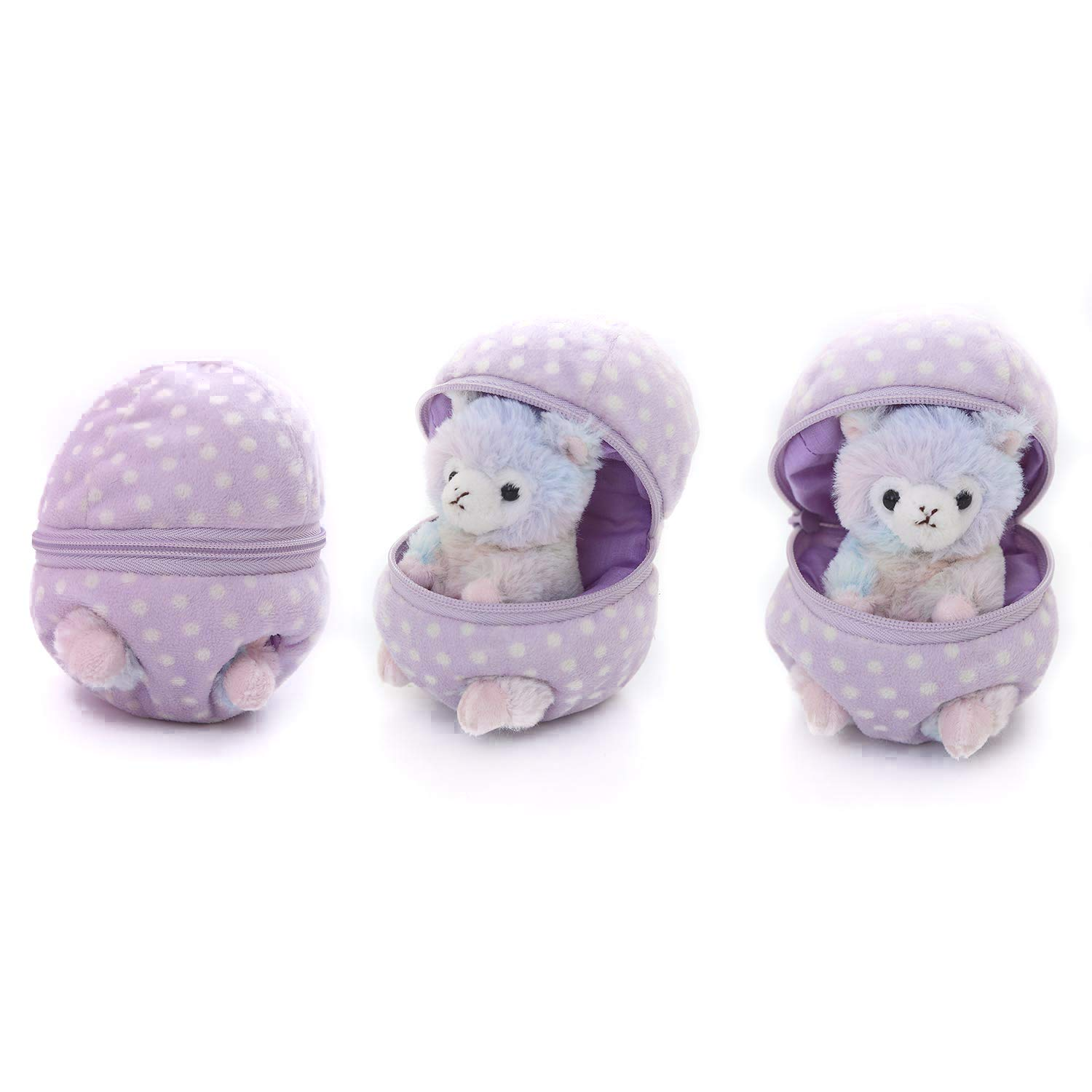 Plushland Plush Stuffed Animal 6 Inches Surprise Zip Up Egg Hideaway | Cute, Purple Pastel and Polka Dot Easter Colors | Spring Inspired Gift for Girls and Boys Birthday Mother's Day (Easter Llama)