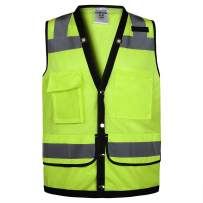 Class 2 High Visibility Breathable mesh Safety Vest With pockets and Reflective Strips, Meets ANSI/ISEA Standards (Medium, Yellow)