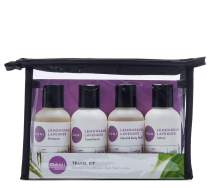 DANI Naturals Travel Size Toiletries Kit - Shampoo, Conditioner, Hand and Body Wash and Lotion - Lemongrass Lavender Scented, Vegan & Cruelty Free