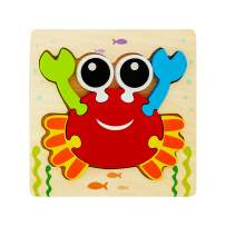 Wooden Crab Jigsaw Puzzle for Toddlers Age 1 2 3 4 5 Year Old, Animal Puzzle Early Educational Toys Gift for Boys and Girls(Only One Pack)