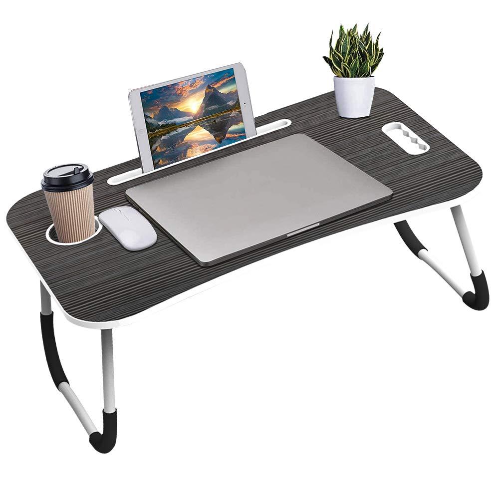 SEGMART Lap Desks Foldable Laptop Desk for Bed Standing Desk Laptop Desk TV Tray Tables for Eating Laptop Stand for Couch Portable Desk for Dinner Reading, with Slot Laptop Desk Accessories-Black