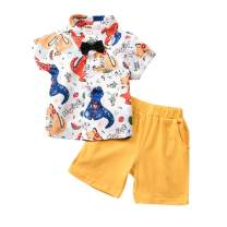 Toddler Baby Boys Summer Outfits Animal Print Short Sleeve Shirt Blouse + Shorts Pants Gentlemen Clothes Set