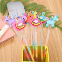 WIN-MARKET Animal Rainbow Swan Horse Gel Ink Pen Cute Kawaii Colorful Writing Pens Ballpoint Colorful Ink Gel Pen Party Gift Gel Ink Pens Funny School Stationery Office Supplies(6PCS)
