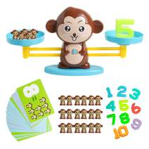 HOONEW Monkey Balance Cool Math Game STEM Montessori Preschool Learning Counting Toys Gift for 3 4 5 Year olds Kids Girls Boys Kindergarten Educational Game(65-Piece Set)
