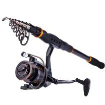 Sougayilang Fishing Rod and Reel Combos, Ultra Light 36 Ton Carbon Fiber Telescopic Spinning Fishing Pole with 13+1BB Smooth Spinning Fishing Reel for Travel Fishing