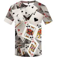 KYKU Poker T Shirt for Men 3D Printing Las Vegas Card Shirts Short Sleeve Tee