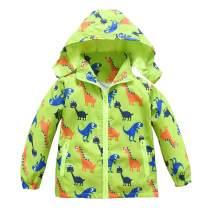Toddler Boys Girls Jacket Hooded Trench Dinosaur Lightweight Kids Coats Windbreaker Outdoor