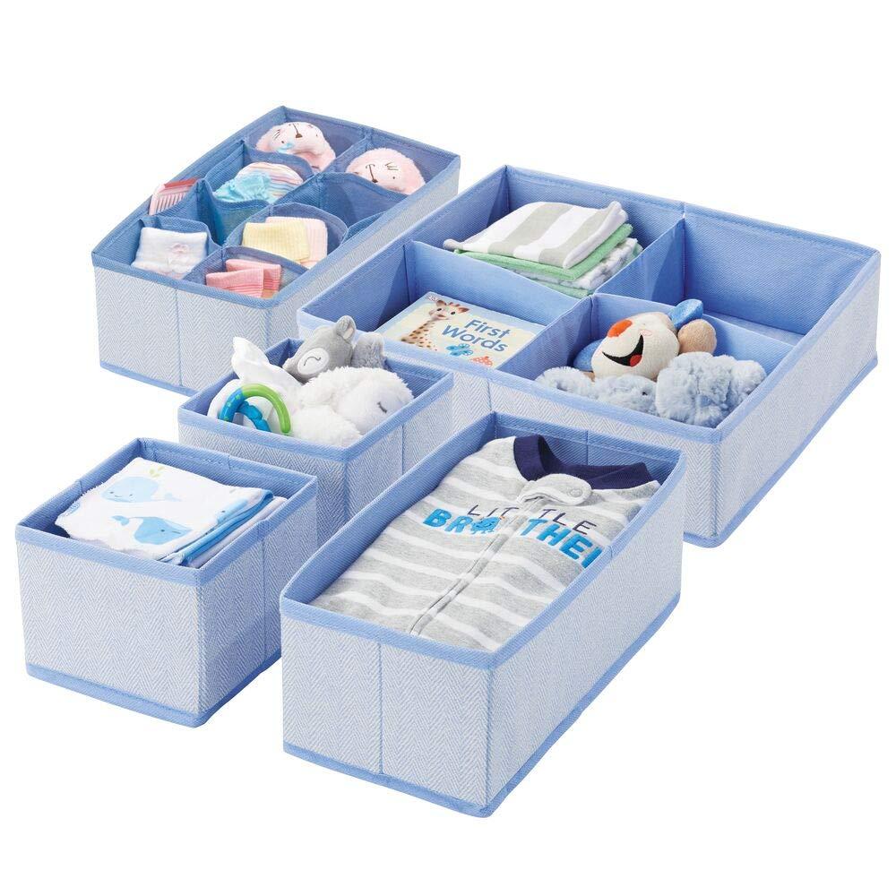 mDesign Soft Fabric Dresser Drawer and Closet Storage Organizer Set for Child/Baby Room or Nursery - Large Set of 5 Organizers, Textured Print - Blue Herringbone