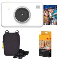 Kodak Mini Shot Instant Camera (White) Basic Bundle + Paper (20 Sheets) + Deluxe Case