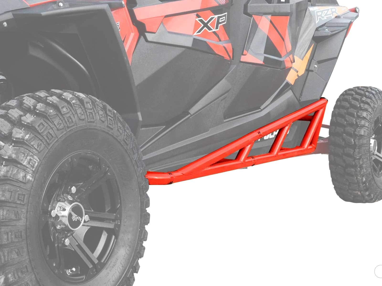 SuperATV Nerf Bars/Tree Kickers/Rock Sliders for Polaris RZR XP 4 Turbo (2016+) - Red - Compatible With Our Full Protection Kit!