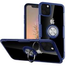 Lozeguyc Case for iPhone 11 Pro, iPhone 11 Pro Kickstand Ring Holder Case Magnetic Car Mount Metal Plate Clear Hard Cover Slim Shockproof Hybrid Case for iPhone 11 Pro 5.8 Inch-Blue