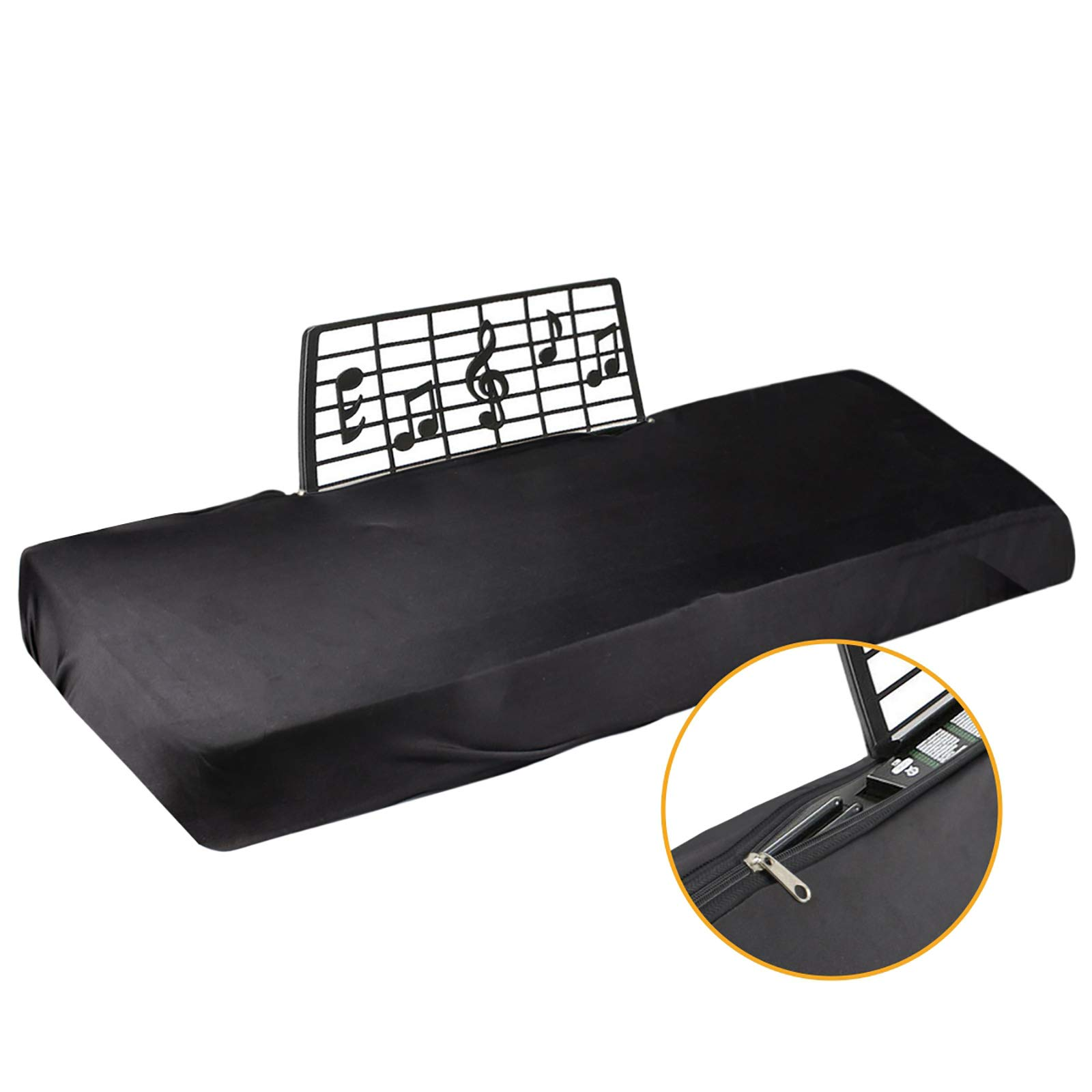 Explore Land Stretchy 61/88 Keys Piano Keyboard Dust Cover with Music Stand Opening for Digital Electronic Piano (88, Black)