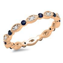 10K Gold Round Blue Sapphire & White Diamond Ladies Wedding Eternity Band Stackable Ring