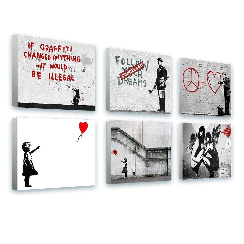 """Alonline Art - There Is Always Hope Balloon Girl by Banksy   framed stretched canvas (Synthetic) on a ready to hang frame - gallery wrapped   16""""x12"""" - 41x30cm   Set of 6 Lot   Wall art home decor"""