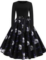 Womens Halloween Dresses Sleeveless A-Line Vintage Dress Witch Pumpkin Skull Printed Cocktail Swing Party Dress Costumes