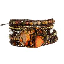Plumiss Boho Handmade Imperial Jasper Bracelets Natural Stone Crystal Hematite Mixed Beaded Strand Bracelet