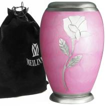 Cremation Urn for Human Ashes Adult - Brass Funeral Urn for Women - Metal Hand Engraved Silver Rose Large Urn - Display Burial at Home or in Niche at Columbarium (Mother or Your Lover, Ascot Pink Urn
